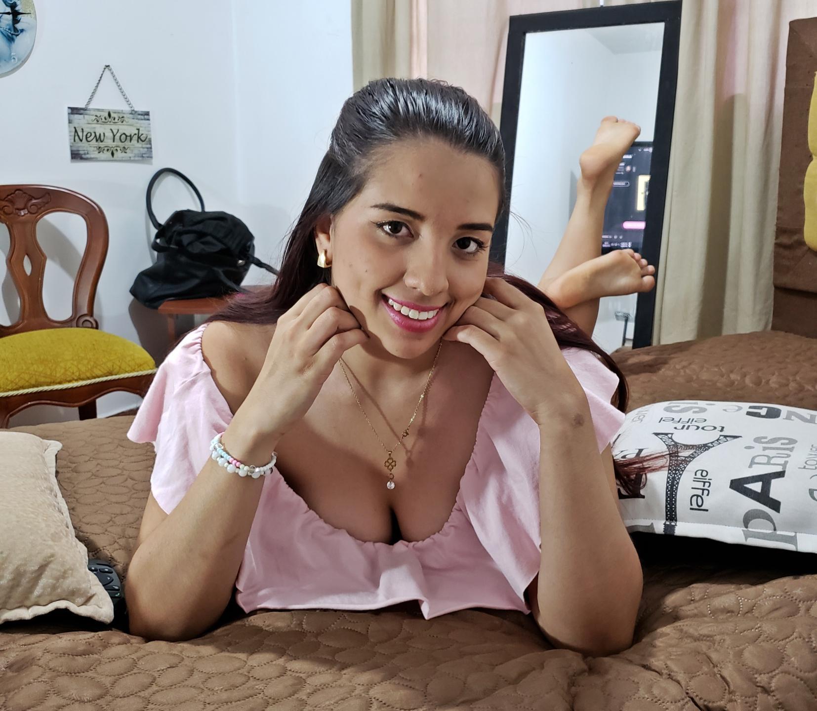 Latina Teen Writhing On Laptop Webcam For Strangers